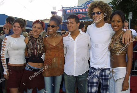 """""""American Idol"""" finalists (from left to right) Kelly Clarkson, Nikki McKibbin, Tamyra Gray, R.J. Helton, Justin Guarini and Christina Christian arriving to the premiere of Revolution Studio's """"XXX"""" at the Mann Village and Bruin Theatres in Westwood, California on August 5, 2002.  Westwood, California  Photo® Matt Baron/BEImages.net"""