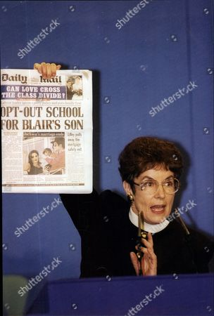 Education Secretary Gillian Shephard Holding A Copy Of The Daily Mail As She Launched An Attack On Tony Blair And His Choice Of School For His Son In 1994.