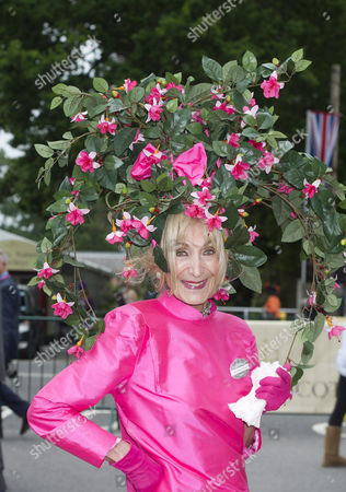 Editorial picture of The First Day Of Royal Ascot Races. Florence Claridge Wears An Unusual Hat.