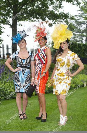 Leigh Johnson Hat Designer Ilda Di Vico And Sofia Hayat Attend Ladies Day At Royal Ascot.