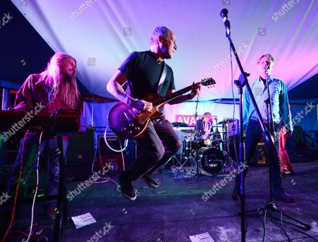 Stock Image of Celebrity Chef/ Through The Keyhole Presenter Loyd Grossman Played At The Avalon Cafe With His Band Lloyd Grossman & The New Forbidden At The Glastonbury Festival 2013 Worthy Farm Pilton Somerset.