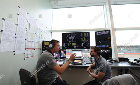 Editorial picture of Behind The Scenes At The British Grand Prix With Laura Williamson: Motor Racing Commentators David Croft And Anthony Davidson.