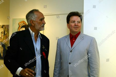 Artist Sergio Premoli and Gerald V. Casale (formerly of the rock group Devo) at an art opening of the works of Sergio Premoli at the Hedi Khorsand Gallery in Los Angeles, CA