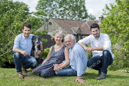Tom Herbert and Henry Herbert with parents Polly and Trevor at home in Little Sodbury.