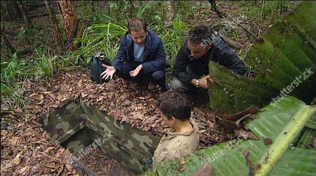 Stock Photo of RHONA CAMERON BEING CAUGHT IN AN ANIMAL TRAP BY ANT AND DEC