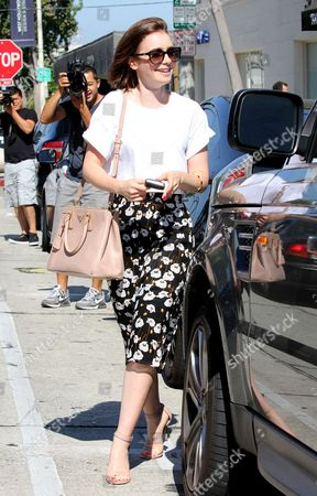 Lily Collins leaving the Andy Lecompte Salon