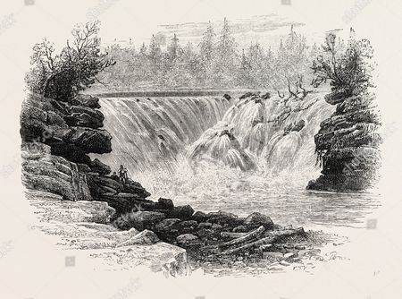 Falls Of The St. John River, North America, US, USA, 1870s Engraving.