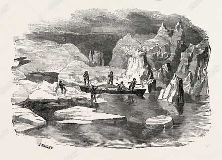 Gutta Percha Boat, Employed In The Late Voyage Of The Prince Albert In Search Of Sir John Franklin, 1851 Engraving.