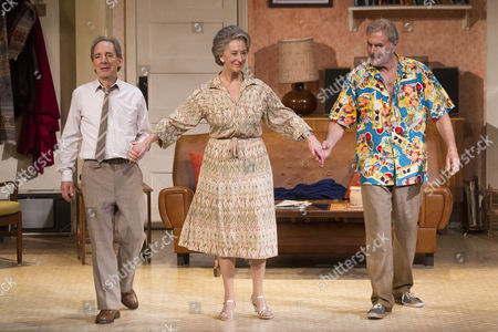 Harry Shearer (Joe), Maureen Lipman (Elli) and Oliver Cotton (Author/Billy) during the curtain call