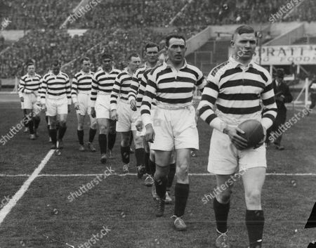 Jim Sullivan Leading Wigan Team Onto The Pitch At The Rugby League Cup Final At Wembley In 1929.