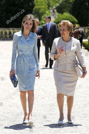 Stock Image of Queen Letizia and Maria Alves da Silva