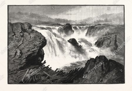 Grand Falls, St. John River, Canada, Nineteenth Century Engraving.