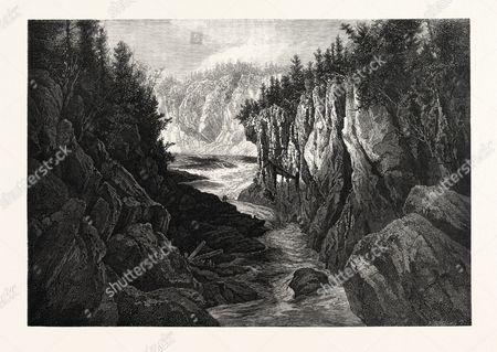 New Brunswick, Gorge Below Grand Falls, St. John River, Canada, Nineteenth Century Engraving.