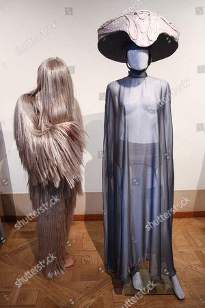 Model wears a creation by Charlie Le Mindu fashion house