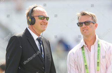 Jonathan Agnew of BBC TMS with Graeme Swann (R)  England v India - 1st Investec Test Match - Day 1 - Trent Bridge - Nottingham - 09/07/2014 Mandatory Credit: ANDREW FOSKER / Seconds Left / Rex