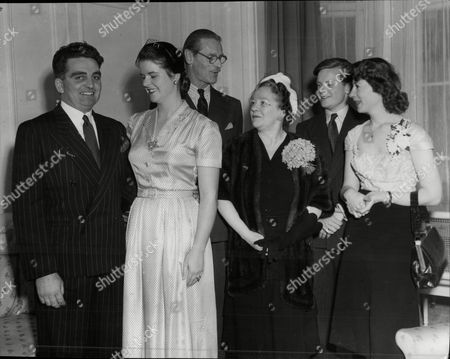 Editorial image of L-r: Mr Mervyn Evans Miss Hermione Wills Major Cecil And Mrs Wills Mr & Mrs Robin Wills. Engagement Story. (for Full Caption See Version).