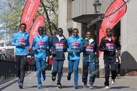 Six of the world's best marathon runners, from left Tsegaye Mekonnen, Emmanuel Mutai, Stephen Kiprotich, Geoffrey Mutai, Tsegaye Kebede and Ibrahiim Jeilan attending a photocall ahead of their start in the London Marathon, London, England, United Kingdom