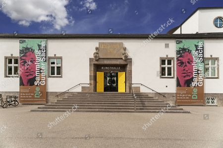 Stock Photo of Posters at the art gallery advertising an exhibition from the art collection of Gunter Sachs, former Hans Sachs bath, Schweinfurt, Lower Franconia, Bavaria, Germany