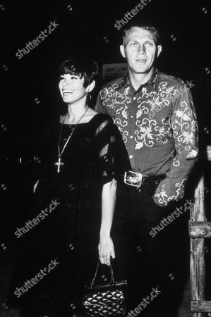 FILM STILLS OF 'NEVADA SMITH' WITH 1966, NEILE ADAMS-McQUEEN, MARRIED COUPLES, STEVE McQUEEN, PARTYING, WRAP PARTY IN 1966
