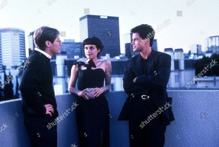 FILM STILLS OF 'BAD INFLUENCE' WITH 1990, CURTIS HANSON, ROB LOWE, ROOF TOP, SKYLINE, JAMES SPADER, LISA ZANE IN 1990