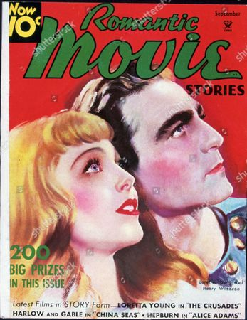 FILM STILLS OF 'ROMANTIC MOVIE STORIES - SEPTEMBER' WITH 1935, HENRY WILCOXON, LORETTA YOUNG, PORTRAIT, ILLUSTRATION, COVER ART, MAGAZINE COVER, PROFILE, ROMANTIC MOVIE STORIES IN 1935