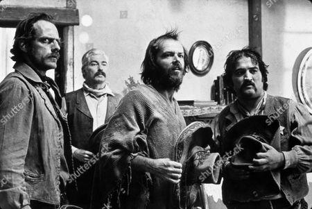 Stock Image of FILM STILLS OF 'GOIN' SOUTH' WITH 1979, BEARD, JOHN BELUSHI, RICHARD BRADFORD, CHRISTOPHER LLOYD, MOUSTACHE, JACK NICHOLSON IN 1979