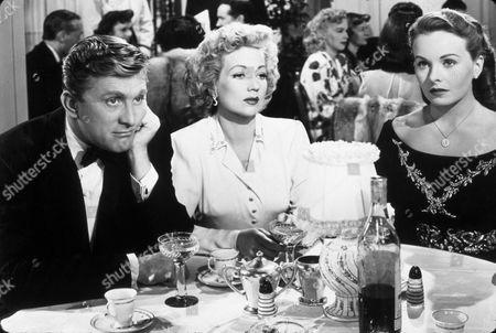 FILM STILLS OF 'LETTER TO THREE WIVES' WITH 1948, JEANNE CRAIN, KIRK DOUGLAS, JOSEPH L MANKIEWICZ, ANN SOTHERN IN 1948