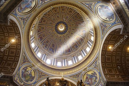 The dome interior of St Peter's by Michelangelo, The Vatican, Rome, Lazio, Italy