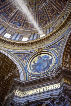 The dome interior of St Peter's by Michelangelo, The Vatican, Rome, Lazio Italy