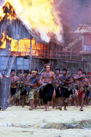 FILM STILLS OF 'FAREWELL TO THE KING' WITH 1989, JOHN MILIUS, NICK NOLTE IN 1989