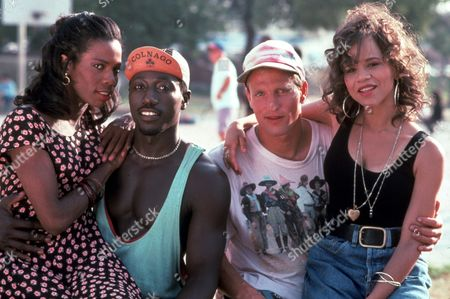 FILM STILLS OF 'WHITE MEN CAN'T JUMP' WITH 1992, TYRA FERRELL, WOODY HARRELSON, ROSIE PEREZ, RON SHELTON, WESLEY SNIPES IN 1992