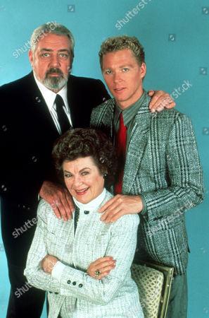 FILM STILLS OF 'PERRY MASON: THE CASE OF THE MURDERED MADAM' WITH 1992, RAYMOND BURR, CHARACTER, DELLA STREET, BARBARA HALE, WILLIAM KATT, PERRY MASON IN 1992