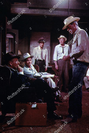 FILM STILLS OF 'BAD DAY AT BLACK ROCK' WITH 1955, WALTER BRENNAN, RUSSELL COLLINS, ENSEMBLE, LEE MARVIN, ROBERT RYAN, JOHN STURGES, SPENCER TRACY IN 1955