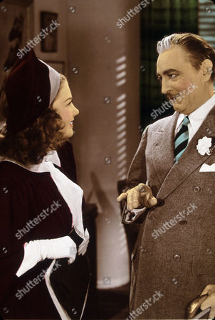 FILM STILLS OF 'GREAT PROFILE' WITH 1940, JOHN BARRYMORE, ANNE BAXTER, SUIT, MOUSTACHE, CONDESCENDING, MAID, HOUSE MAID IN 1940