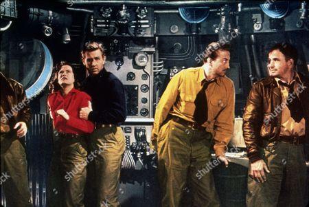 Stock Image of FILM STILLS OF 'ROCKETSHIP X-M' WITH 1950, NOAH BEERY JR, LLOYD BRIDGES, JOHN EMERY, OSA MASSEN, ITS & ALIENS! THINGS, UNIFORM, SPACE SHIP, POSSESSIVE GRASP, SCI-FI IN 1950