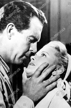 FILM STILLS OF 'RAINS OF RANCHIPUR' WITH 1955, JOAN CAULFIELD, FRED MacMURRAY, JEAN NEGULESCO, ROMANCE IN 1955