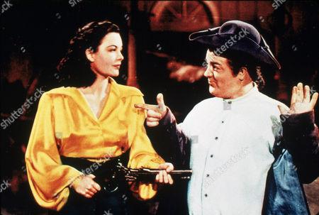 FILM STILLS OF 'TIME OF THEIR LIVES' WITH 1946, BUD ABBOTT, BINNIE BARNES, CHARLES BARTON, LOU COSTELLO, MARJORIE REYNOLDS IN 1946