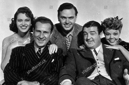 FILM STILLS OF 'ABBOTT AND COSTELLO IN HOLLYWOOD' WITH 1945, BUD ABBOTT, COMEDY (SLAPSTICK), COMEDY TEAM, LOU COSTELLO, HOLLYWOOD LIFE (COMEDY), JEAN PORTER, FRANCES RAFFERTY, SYLVAN S SIMON, ROBERT STANTON IN 1945