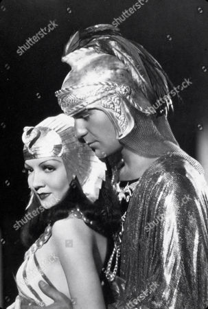 FILM STILLS OF 'CLEOPATRA' WITH 1934, CLAUDETTE COLBERT, CECIL B DeMILLE, HENRY WILCOXON IN 1934