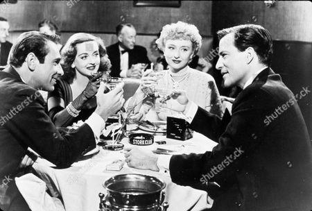 FILM STILLS OF 'ALL ABOUT EVE' WITH 1950, BETTE DAVIS, CELESTE HOLM, JOSEPH L MANKIEWICZ, HUGH MARLOWE, GARY MERRILL, TOASTING DRINKS IN 1950