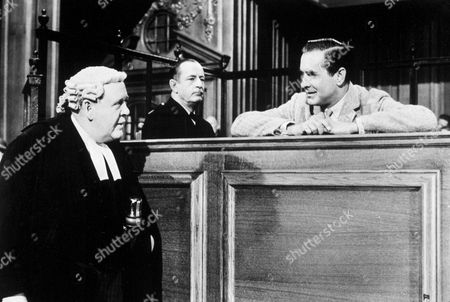 FILM STILLS OF 'WITNESS FOR THE PROSECUTION' WITH 1958, CHARLES LAUGHTON, TYRONE POWER, BILLY WILDER IN 1958