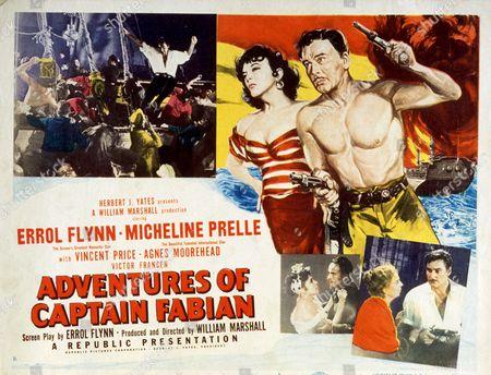FILM STILLS OF 'ADVENTURES OF CAPTAIN FABIAN' WITH 1951, ERROL FLYNN, WILLIAM MARSHALL, MICHELINE PRESLE IN 1951