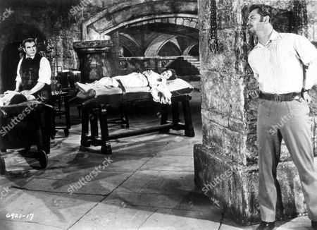 FILM STILLS OF 'BLOOD OF THE VAMPIRE' WITH 1958, VINCENT BALL, HENRY CASS, BARBARA SHELLEY, DONALD WOLFIT IN 1958