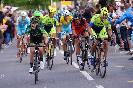 Stock Image of Cycling: 101th Tour de France / Stage 7 ROCHE Nicolas (IRL)/ VAN AVERMAET Greg (BEL)/ Gautier Cyril (FRA)/ CONTADOR Alberto (ESP)/ NIBALI Vincenzo (ITA) Yellow Leader Jersey / VANMARCKE Sep (BEL)/ FUGLSANG Jakob (DEN)/ Epernay - Nancy (234,5Km)/