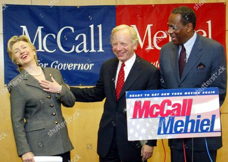 SENATORS HILLARY RODHAM CLINTON AND JOSEPH LIEBERMAN WITH CARL MCCALL