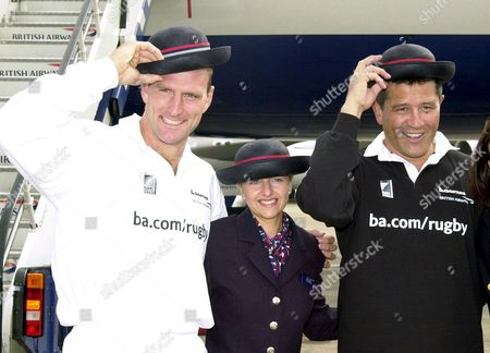 LAWRENCE DALLAGLIO AND ZINZAN BROOKE WITH BRITISH AIRWAYS STEWARDESS LIZA LOPEZ