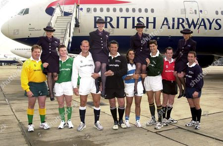 LAWRENCE DALLAGLIO, ROB HOWLEY, BRYAN REDPATH, BRIAN O'DRISCOLL, ZINZAN BROOKE, AUGUSTIN PICHOT, PIETER ROUSSOW, THAMAS CASTAIGNEDE AND ANDREW BLADES WITH BRITISH AIRWAYS FLIGHT ATTENDANTS ESTALLE BALL, STEPHANIE MOULDEN, JANE LLOYD MOYSTEN AND LIZA LOPEZ
