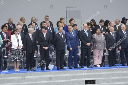 Mayor of Paris Anne Hidalgo, French National Assembly President Claude Bartolone, French Prime minister Manuel Valls, French President Francois Hollande, President of the French Senate Jean-Pierre Bel, and Albert II of Monaco