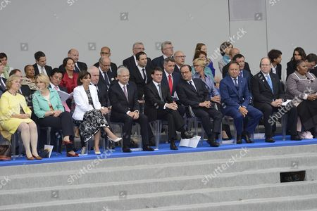 Guest, Mayor of Paris Anne Hidalgo, French National Assembly President Claude Bartolone, French Prime minister Manuel Valls, French President Francois Hollande, President of the French Senate Jean-Pierre Bel, and Albert II of Monaco