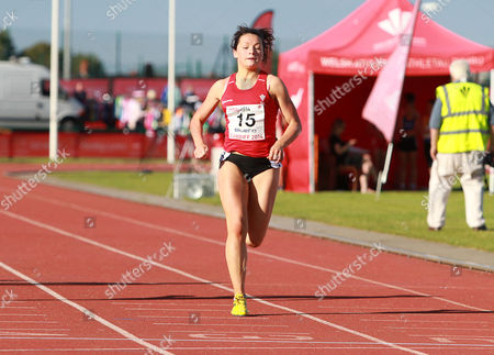 Stock Image of 15.07.14 - Welsh Athletics International held at the Cardiff International Sports Stadium - Shannon Malone wins Womens 100m Final B